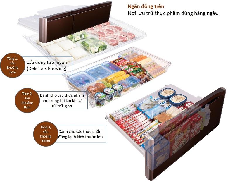 Ngăn đông nhiều tầng - Tủ lạnh Hitachi Inverter 657 lít R-G620GV XT