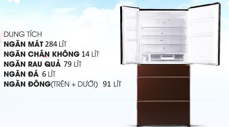 Dung tích 474 lít - Tủ lạnh Hitachi Inverter 657 lít R-G620GV XT