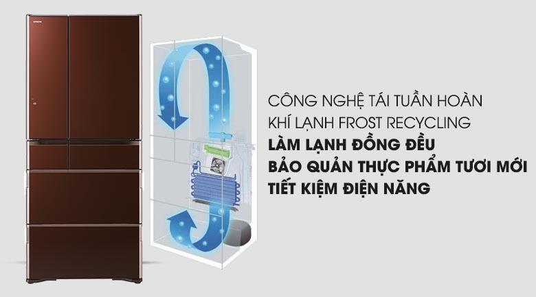 Công nghệ Frost Recycling - Tủ lạnh Hitachi Inverter 657 lít R-G620GV XT