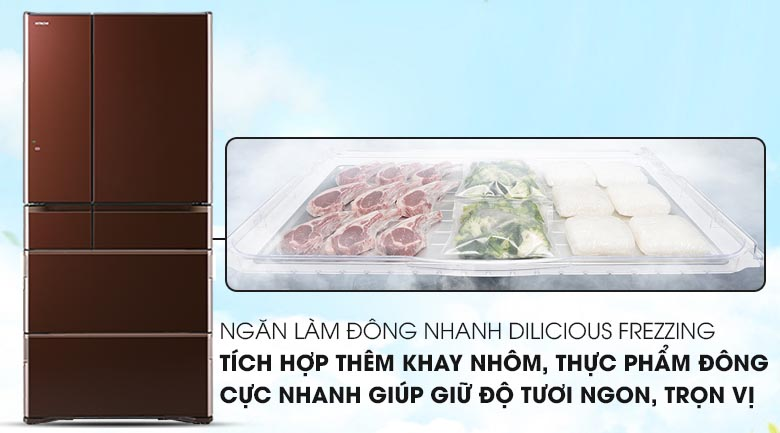 Ngăn đông nhanh  - Tủ lạnh Hitachi Inverter 657 lít R-G620GV XT