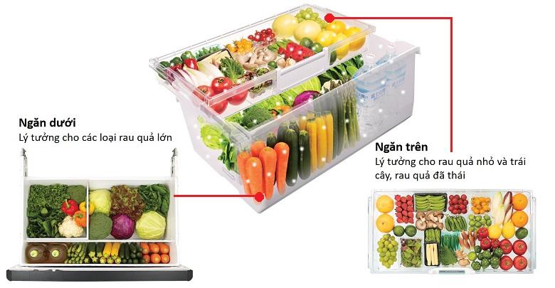 Ngăn rau củ 2 tầng - Tủ lạnh Hitachi Inverter 657 lít R-G620GV XT