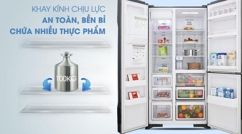 Khay chứa chịu lực bền bỉ, an toàn - Tủ lạnh Hitachi Inverter 584 lít R-FM800GPGV2 GBK