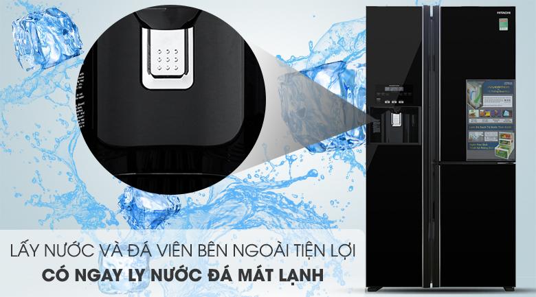 Trang bị hộc lấy nước và đá viên bên ngoài - Tủ lạnh Hitachi Inverter 584 lít R-FM800GPGV2 GBK