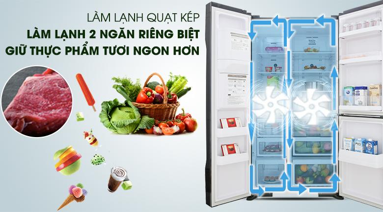 Hệ thống quạt kép - Tủ lạnh Hitachi Inverter 584 lít R-FM800GPGV2 GBK