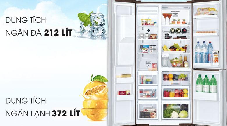 Dung tích lên đến 584 - Tủ lạnh Hitachi Inverter 584 lít R-FM800GPGV2 GBK