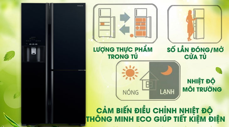 cảm biến nhiệt Eco - Tủ lạnh Hitachi Inverter 584 lít R-FM800GPGV2 GBK