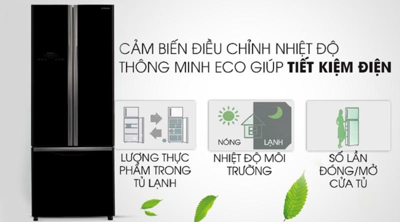 Tủ lạnh Hitachi Inverter 405 lít R-FWB475PGV2 GBK - cảm biến nhiệt Eco thông minh