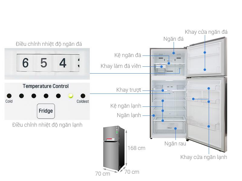 Thông số kỹ thuật Tủ lạnh LG Inverter 393 lít GN-M422PS
