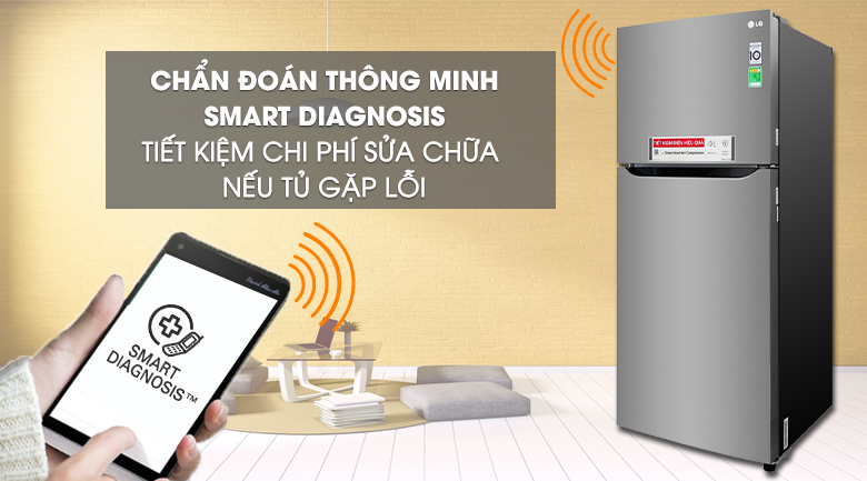 Chẩn đoán lỗi thông minh Smart Diagnosis - Tủ lạnh LG Inverter 393 lít GN-M422PS