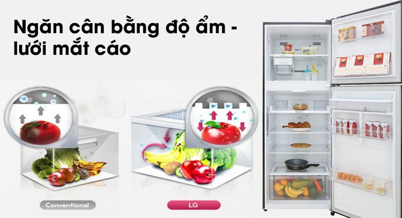 Tủ lạnh LG Inverter 393 lít GN-D422BL - Bảo quản rau củ tươi lâu trong ngăn cân bằng độ ẩm lưới mắt cáo