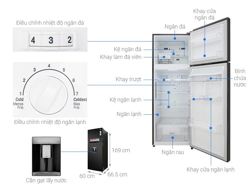 Thông số kỹ thuật Tủ lạnh LG Inverter 315 lít GN-D315BL