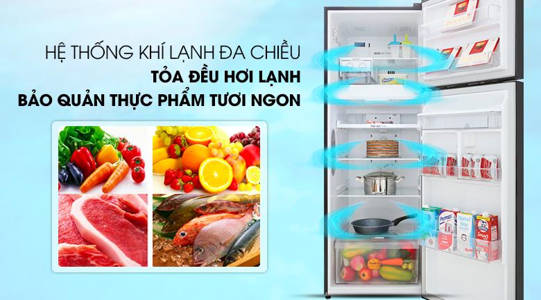 Tủ lạnh LG Inverter 315 lít GN-D315BL Mẫu 2019 - Làm lạnh đồng đều cho thực phẩm với hệ thống khí lạnh đa chiều