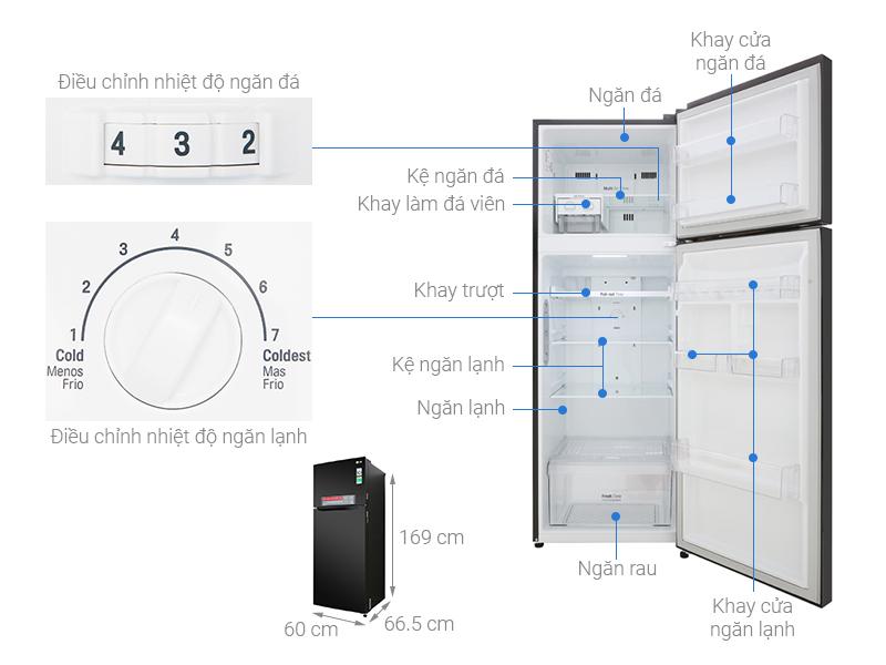 Thông số kỹ thuật Tủ lạnh LG Inverter 315 lít GN-M315BL
