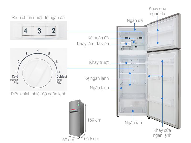 Thông số kỹ thuật Tủ lạnh LG Inverter 315 lít GN-M315PS