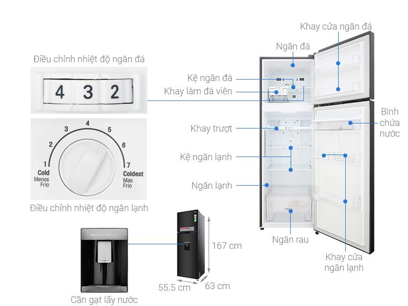 Thông số kỹ thuật Tủ lạnh LG Inverter 255 lít GN-D255BL