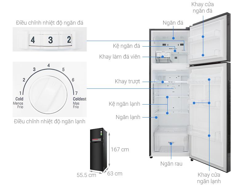 Thông số kỹ thuật Tủ lạnh LG Inverter 255 lít GN-M255BL