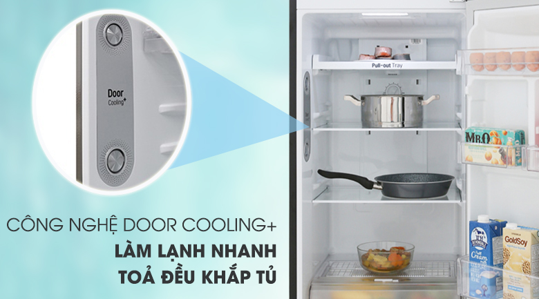 Làm lạnh nhanh hơn với công nghệ DoorCooling+ - Tủ lạnh LG Inverter 255 lít GN-M255BL