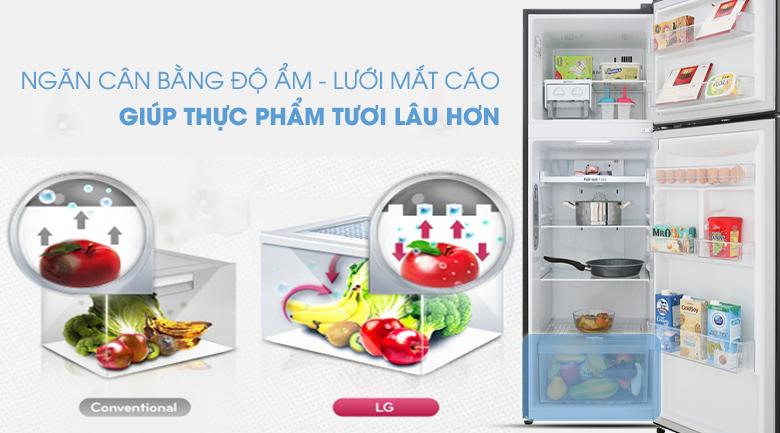Ngăn cân bằng độ ẩm lưới mắt cáo hiện đại - Tủ lạnh LG Inverter 255 lít GN-M255BL