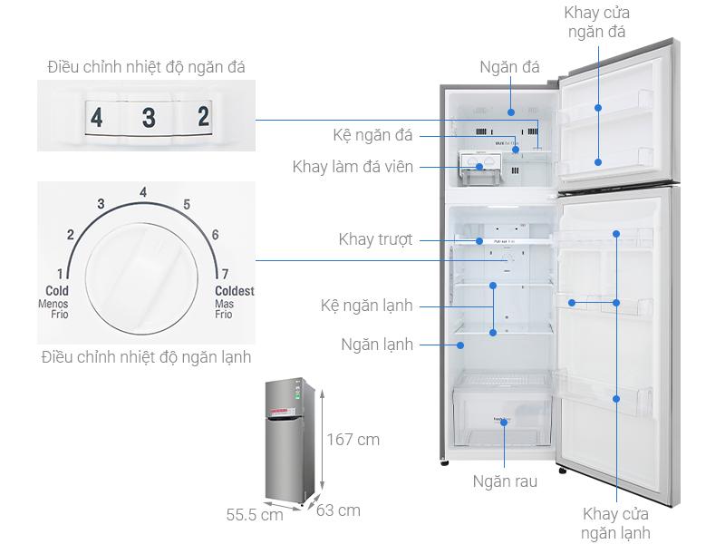 Thông số kỹ thuật Tủ lạnh LG Inverter 255 lít GN-M255PS