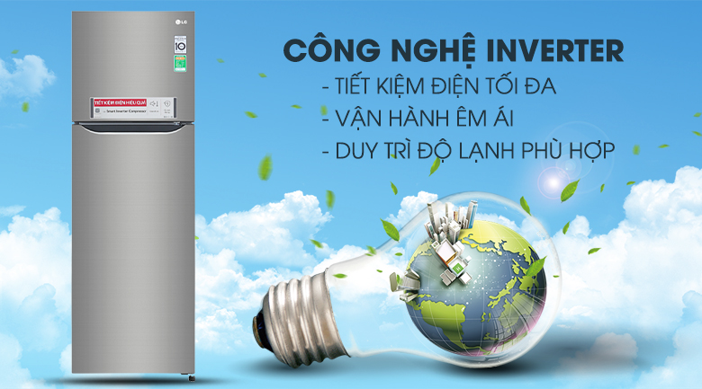 Công nghệ Inverter tiết kiệm điện - Tủ lạnh LG Inverter 255 lít GN-M255PS