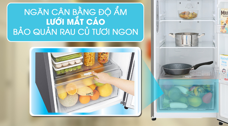 Ngăn rau quả lưới mắt cáo - Tủ lạnh LG Inverter 255 lít GN-M255PS