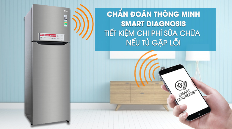 Chẩn đoán thông minh - Smart Diagnosis - Tủ lạnh LG Inverter 255 lít GN-M255PS