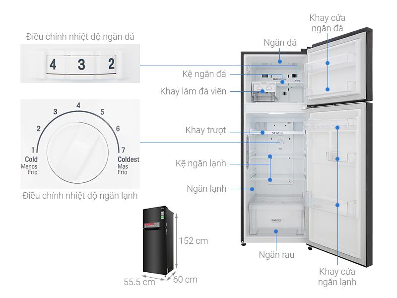 Thông số kỹ thuật Tủ lạnh LG Inverter 208 lít GN-M208BL
