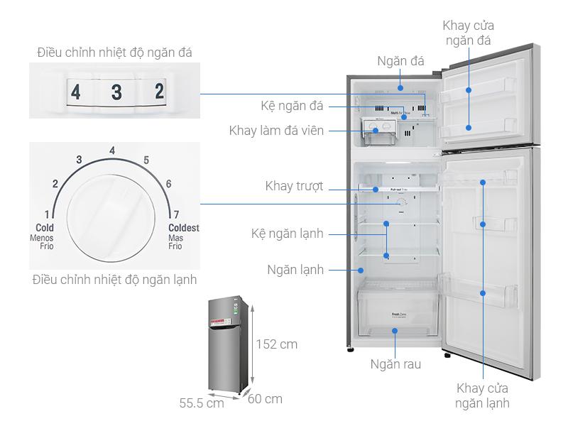 Thông số kỹ thuật Tủ lạnh LG Inverter 209 lít GN-M208PS