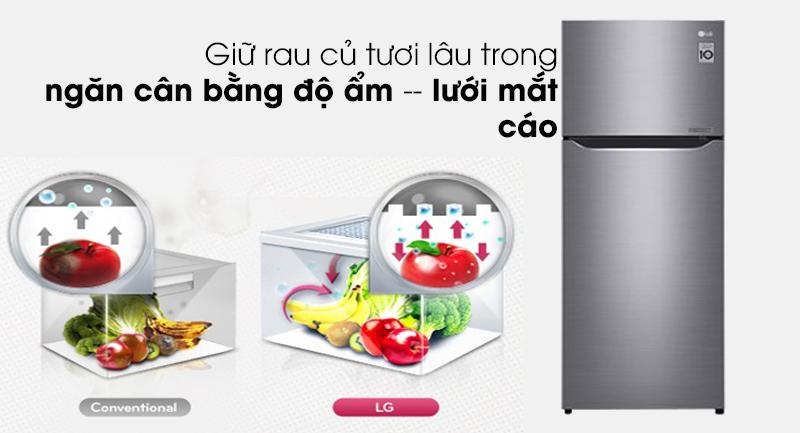 Tủ lạnh LG Inverter 209 lít GN-M208PS - Rau củ tươi lâu trong ngăn cân bằng độ ẩm có lưới mắt cáo