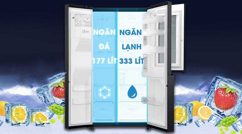 Thoải mái trữ đồ với sức chứa lên tới 601 lít - Tủ lạnh LG Inverter InstaView Door-in-Door 601 lít GR-X247MC