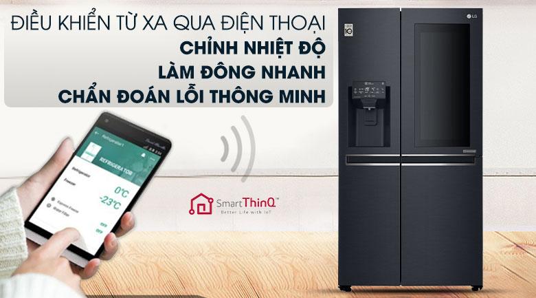 Tích hợp chức năng điều khiển bằng điện thoại qua WIFI - Smart ThinQ™ - Tủ lạnh LG Inverter InstaView Door-in-Door 601 lít GR-X247MC