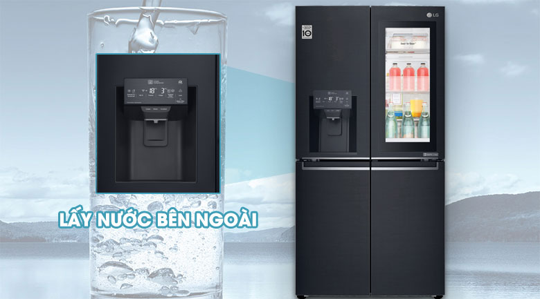 Trang bị hộc lấy nước bên ngoài - Tủ lạnh LG Inverter InstaView Door-in-Door 601 lít GR-X247MC