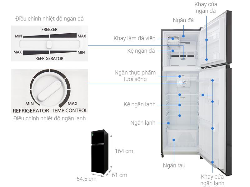 Thông số kỹ thuật Tủ lạnh Toshiba Inverter 253 lít GR-B31VU UKG