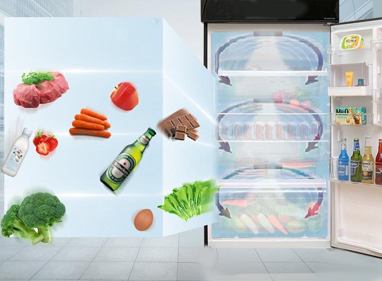 Luồng khí lạnh vòng cung - Tủ lạnh Toshiba Inverter 253 lít GR-B31VU UKG