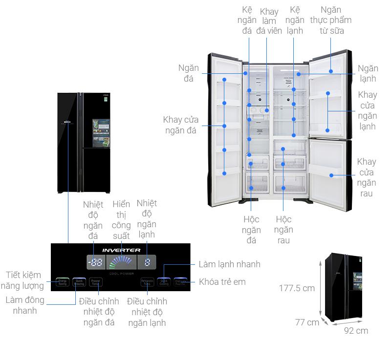 Thông số kỹ thuật Tủ lạnh Hitachi Inverter 600 lít R-FM800PGV2 GBK