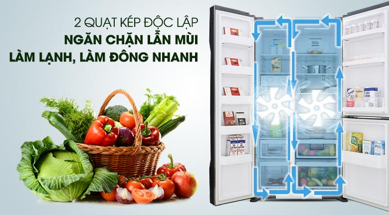 Hệ thống 2 dàn lạnh độc lập - Tủ lạnh Hitachi Inverter 600 lít R-FM800PGV2 GBK