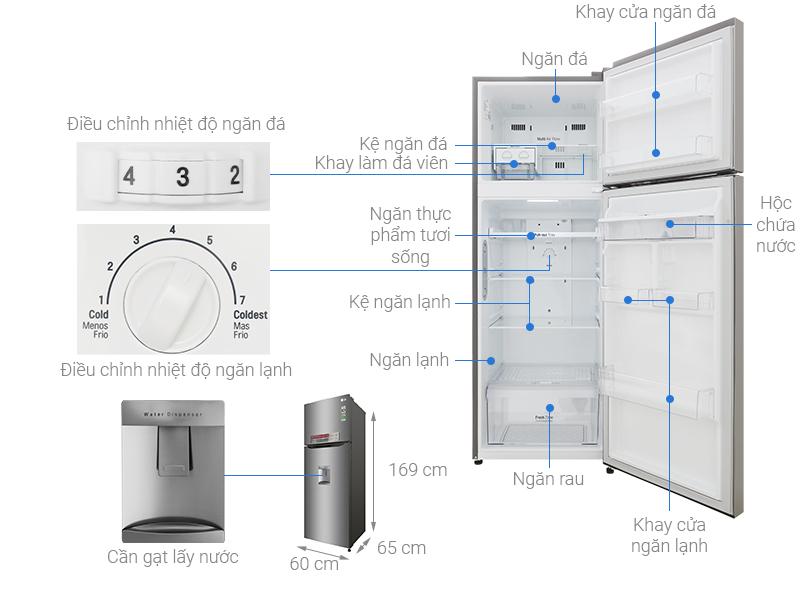 Thông số kỹ thuật Tủ lạnh LG Inverter 315 lít GN-D315S