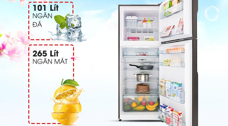 Dung tích 366 lít - Tủ lạnh Hitachi Inverter 366 lít R-FG480PGV8 GBK