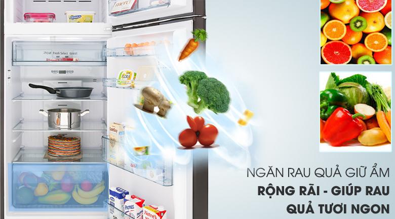 Ngăn rau quả giữ ẩm - Tủ lạnh Hitachi Inverter 366 lít R-FG480PGV8 GBK