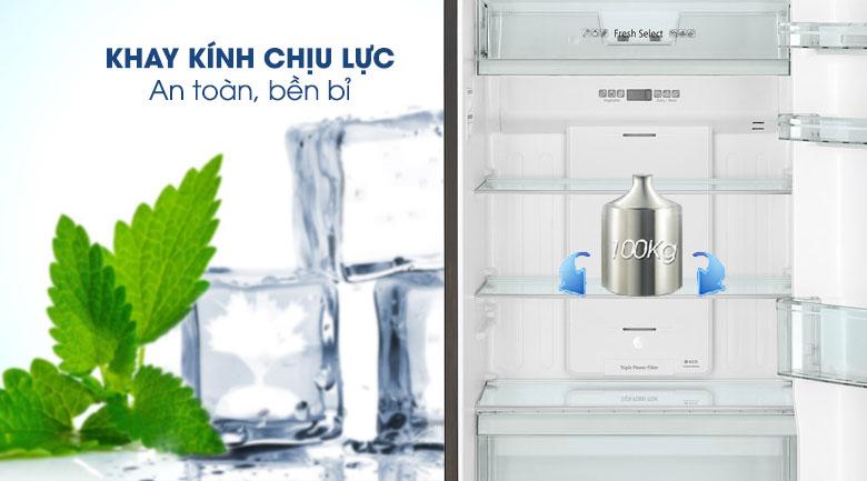 Khay ngăn bằng kính chịu lực - Tủ lạnh Hitachi Inverter 366 lít R-FG480PGV8 GBK