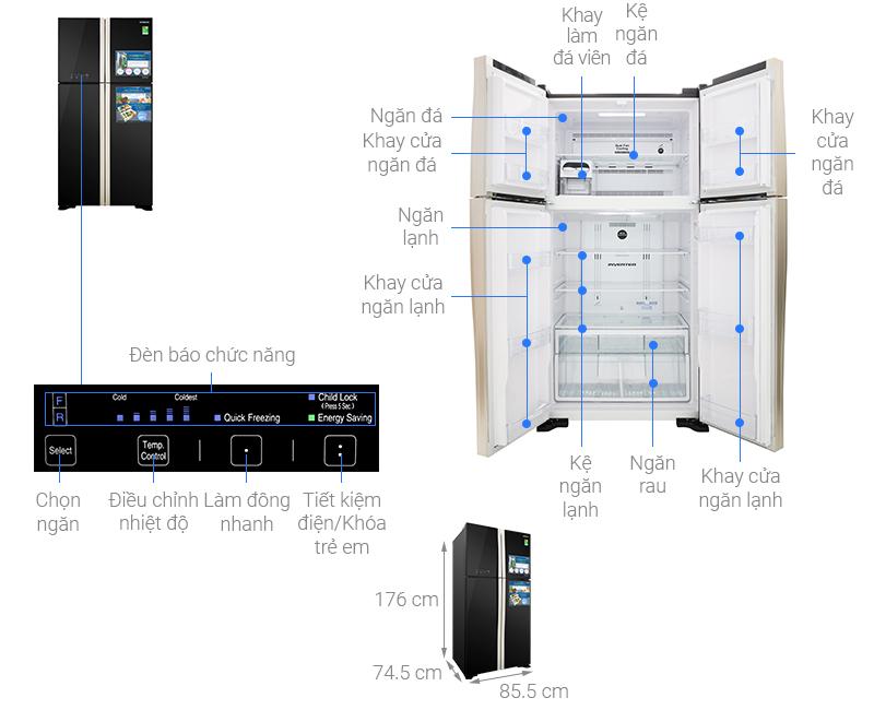 Thông số kỹ thuật Tủ lạnh Hitachi Inverter 509 lít R-FW650PGV8 GBK