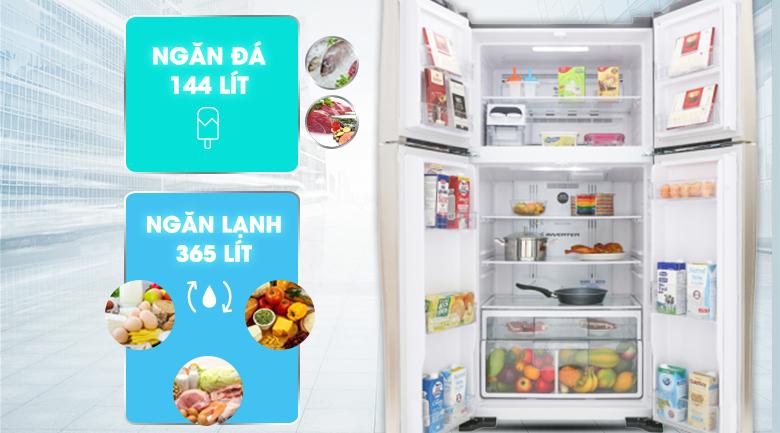 Dung tích 509 lít - Tủ lạnh Hitachi Inverter 509 lít R-FW650PGV8 GBK