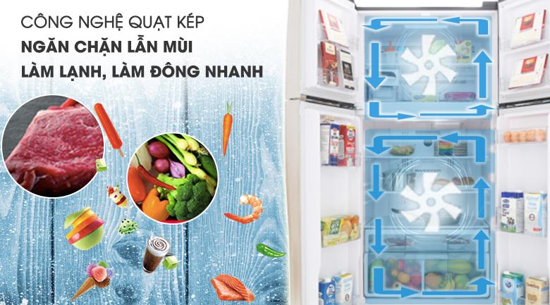 Làm lạnh kép - Tủ lạnh Hitachi Inverter 509 lít R-FW650PGV8 GBK