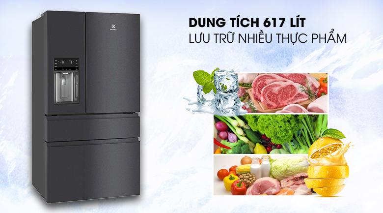 Dung tích 617 lít - Tủ lạnh Electrolux Inverter 617 lít EHE6879A-B