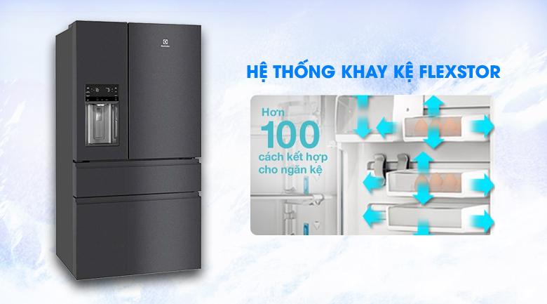 Hệ thống khay kệ FlexStor linh hoạt - Tủ lạnh Electrolux Inverter 617 lít EHE6879A-B