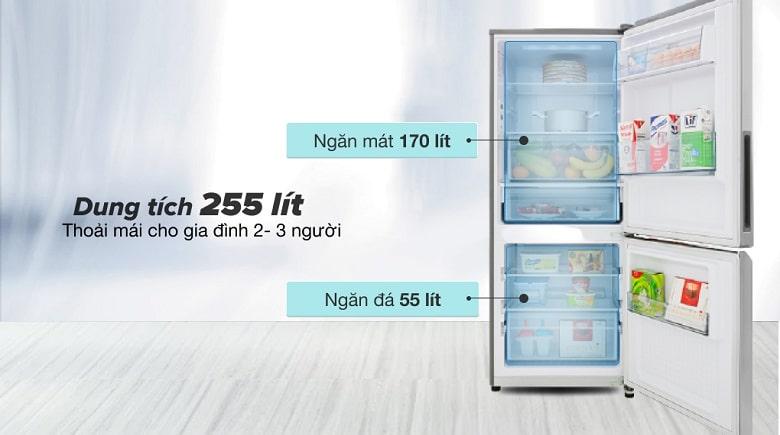 Dung tích 255 lít - Tủ lạnh Panasonic Inverter 255 lít NR-BV280QSVN