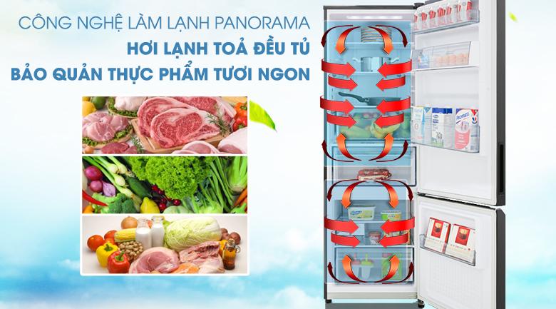 Mang hơi lạnh tỏa đều tủ với công nghệ làm lạnh Panorama - Tủ lạnh Panasonic Inverter 322 lít NR-BC360QKVN