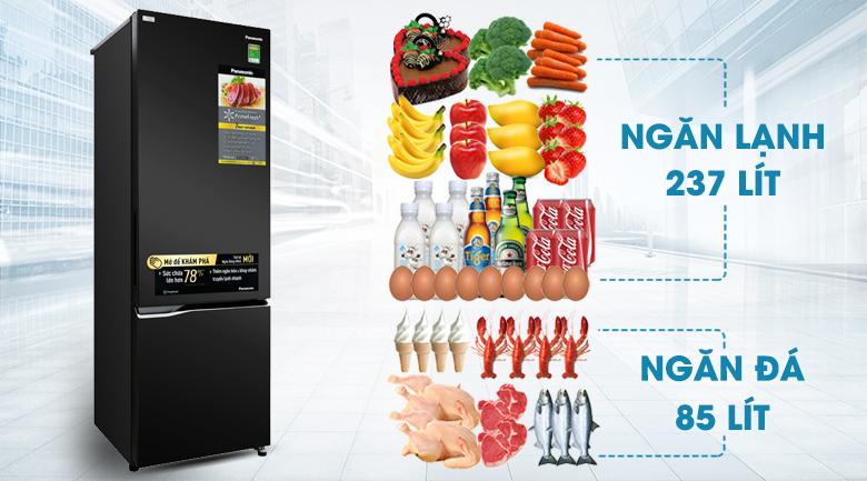 Dung tích sử dụng 322 lít - Tủ lạnh Panasonic Inverter 322 lít NR-BC360QKVN