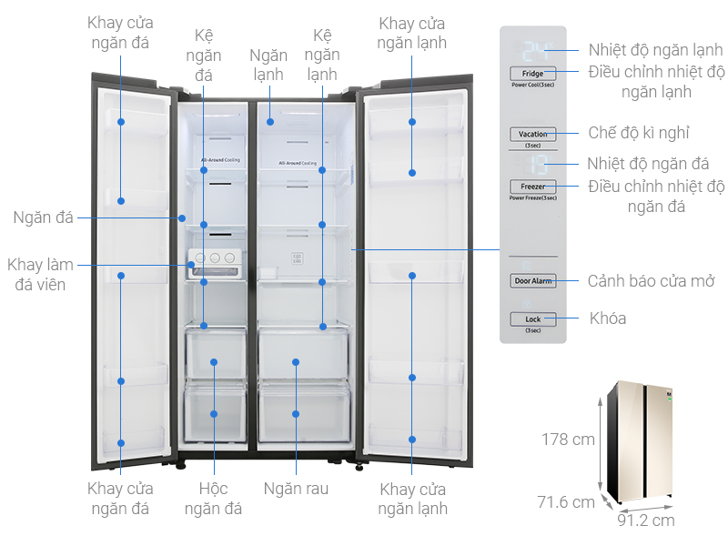 Thông số kỹ thuật Tủ lạnh Samsung Inverter 647 lít RS62R50014G/SV