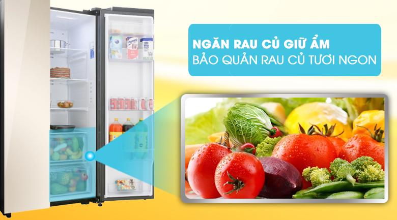 Ngăn rau củ giữ ẩm, bảo quản rau củ tươi ngon - Tủ lạnh Samsung Inverter 647 lít RS62R50014G/SV